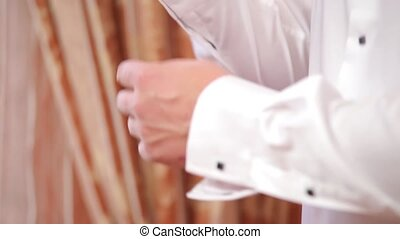 Man wear white shirt details Close up - Man wear white shirt...