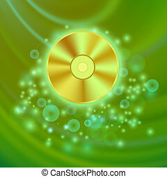 Compact Disc Isolated on Green