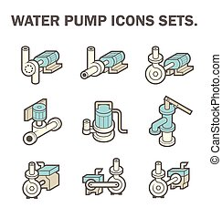 Water pump vector - Vector design of water pump icon sets...