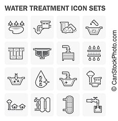Water treatment icon - Water treatment, water supply vector...