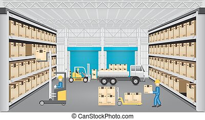 Warehouse vector design - Forklift working with cargo and...
