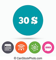 30 Dollars sign icon. USD currency symbol. - Wifi, Sms and...