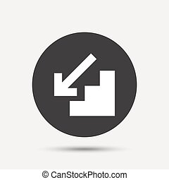 Downstairs icon. Down arrow sign. Gray circle button with...
