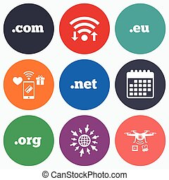 Top-level domains signs Com, Eu, Net and Org - Wifi, mobile...