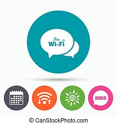Chat speech bubbles. Free wifi sign.