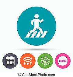 Crosswalk icon. Crossing street sign. - Wifi, Sms and...