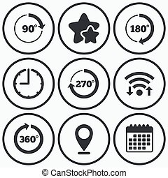 Angle degrees circle icons Geometry math signs - Clock, wifi...