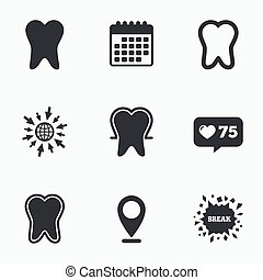 Tooth enamel protection icons Dental care signs - Calendar,...