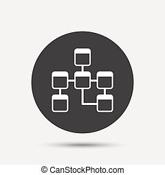 Database sign icon. Relational database schema. - Database...