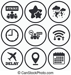 Strike icon Storm weather and group of people - Clock, wifi...