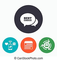 Speech bubble best choice icon. Special offer.