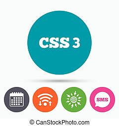 CSS3 sign icon Cascading Style Sheets symbol - Wifi, Sms and...