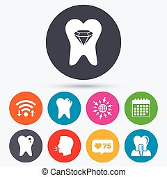 Dental care icons. Caries tooth and implant. - Wifi, like...