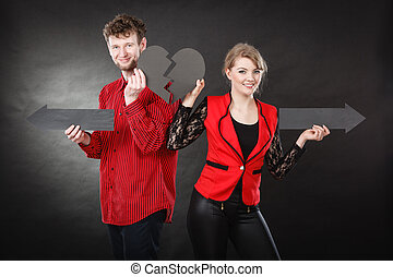 Young pair showing heartbreak symbols - Relationship problem...