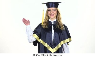 Graduate waving. White. Slow motion - Portrait of female...
