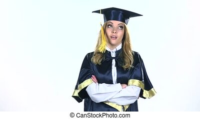 Frustrated and angry graduate. White. Slow motion
