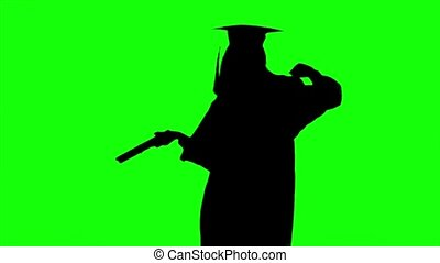 Dancing graduate with a diploma. Graduation at the...