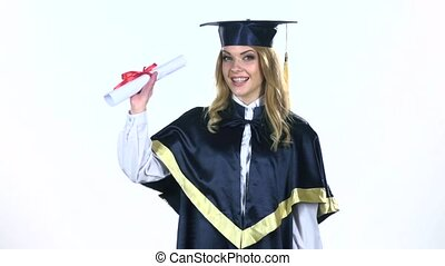 Graduate holding a diploma. White. Slow motion - Graduate...