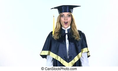 Surprised and happy graduate White Slow motion - Happy...