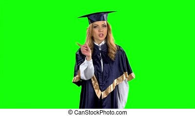 Student. Graduate. Green screen. Slow motion - Portrait of...