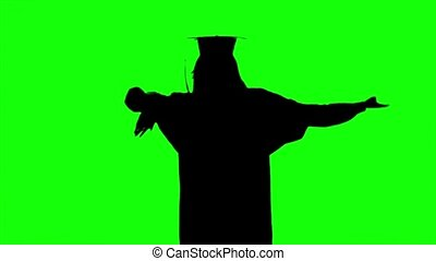 Dancing graduate. High school graduation. Silhoutte - Happy...