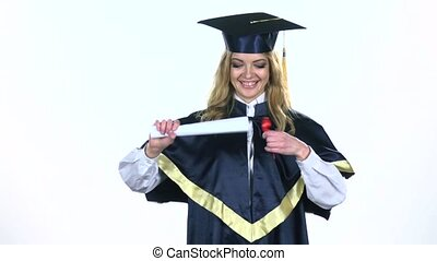 Graduate diploma with ribbon White Slow motion - Graduate...