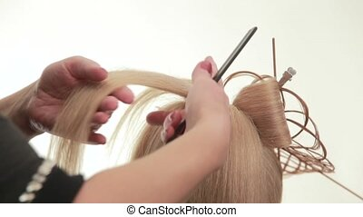 Gathered hair. Hairstyle for long white hair. White. Close up