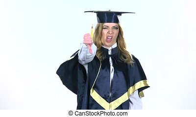 Graduate showing thumbs down. White. Slow motion - Graduate...