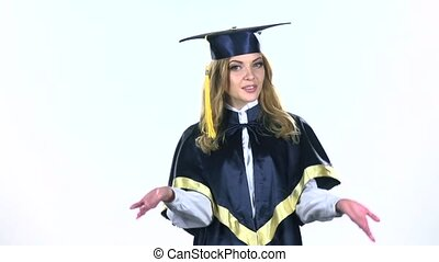 Student graduate isolated confident talking interview. White. Slow motion
