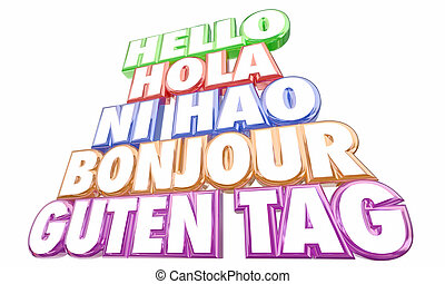 Hello Greetings Introduction Languages Ni Hao Bonjour Words...