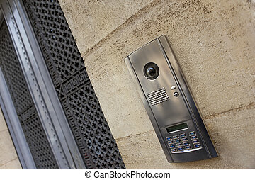 Intercom on a facade - Close up of a modern intercom on a...
