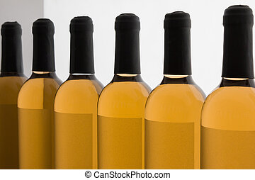 White Wines Bottles in Line