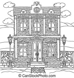 Black and white illustration of a house. Vector. - Black and...