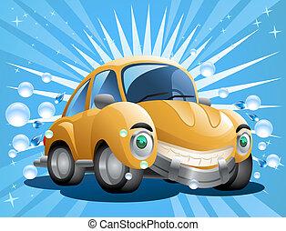 coche, amarillo, lavado