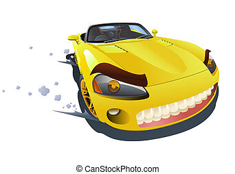 yellow sport car drifting - illustration of a yellow sport...