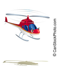 commercial red helicopter - illustration of commercial red...