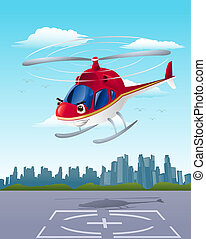 helicopter departure - illustration of commercial red...