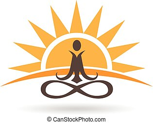Sunset meditation logo. graphic