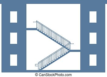 Stairs between buildings Vector graphic illustration