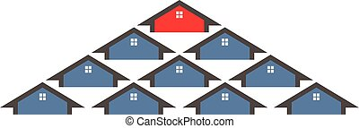 House selection from a group. Vector graphic design illustration