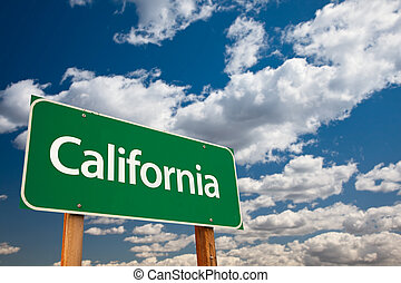 California Green Road Sign with Copy Room Over The Dramatic...