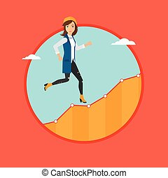 Business woman running upstairs. - Cheerful businesswoman...