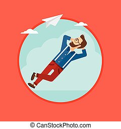 Businessman lying on cloud. - A hipster businessman with the...