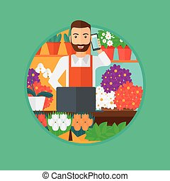 Florist at flower shop. - A hipster florist with the beard...