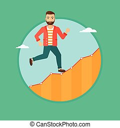 Businessman running upstairs. - Cheerful hipster businessman...