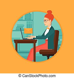 Business woman receiving or sending email. - A business...