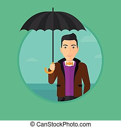 Business man with umbrella.