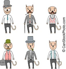 Gentleman cats in hipster accessories - Hand Drawn vector...