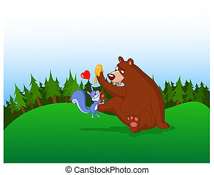 squirrel and bear - Squirrel in love with a bear in the...
