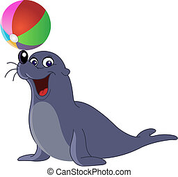 Sea lion - Happy seal with a colored ball